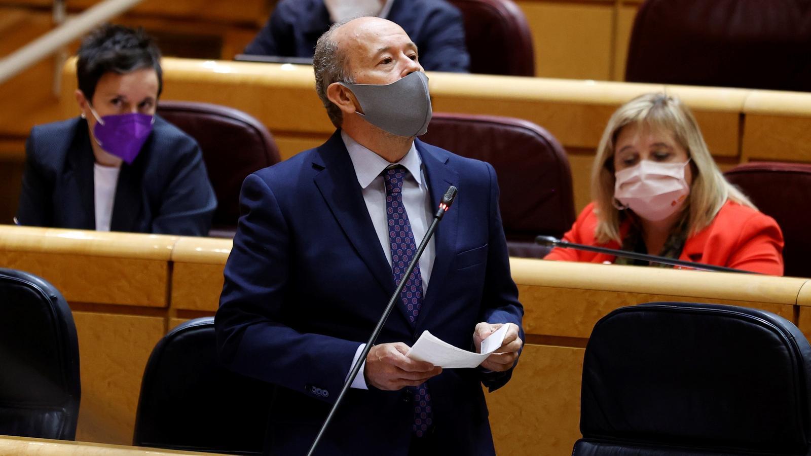 El ministre de Justícia, Juan Carlos Campo, durant la sessió de control al govern espanyol al Senat.