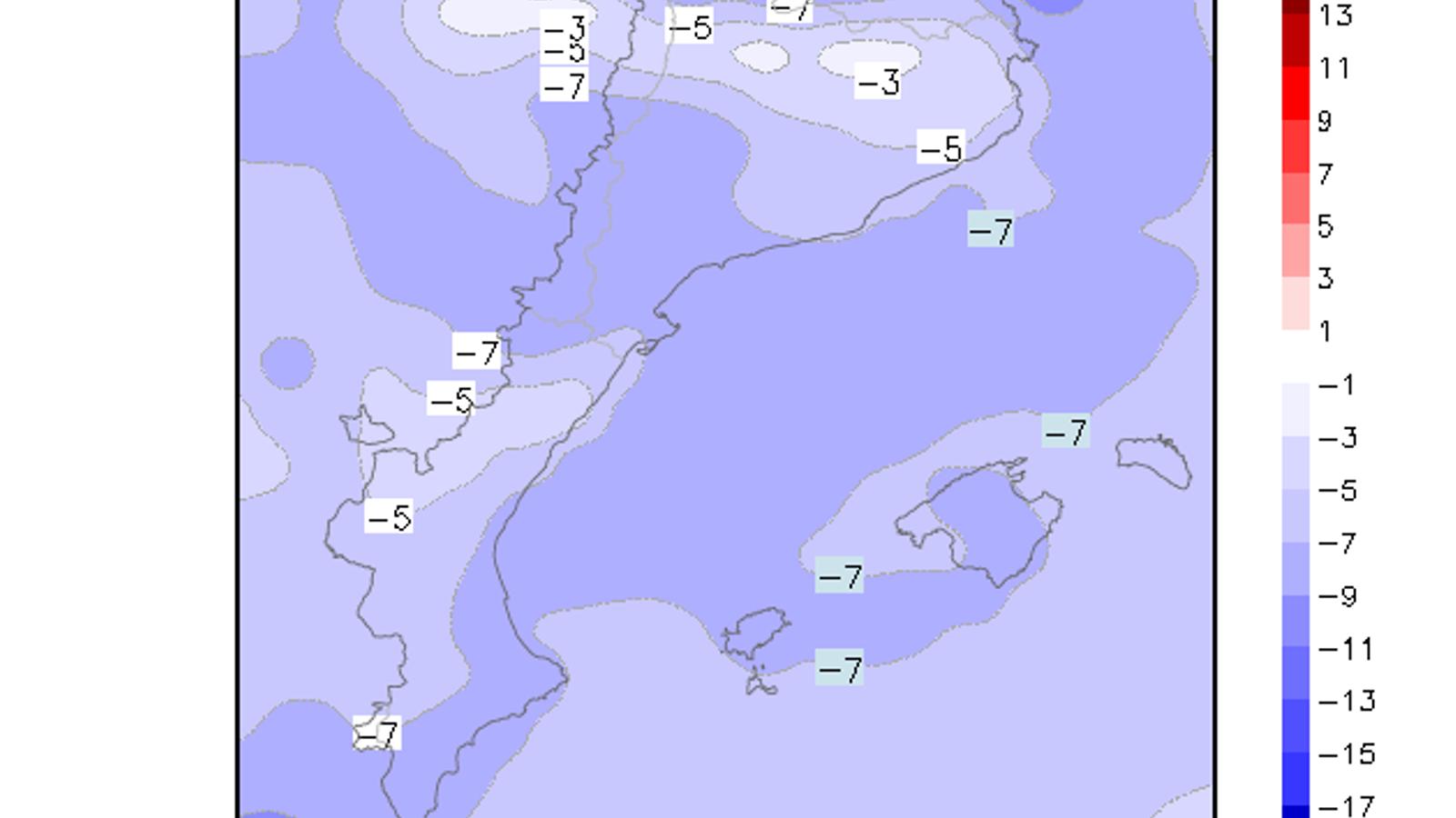 Diferència de temperatura prevista entre el migdia d'avui i el de dimecres