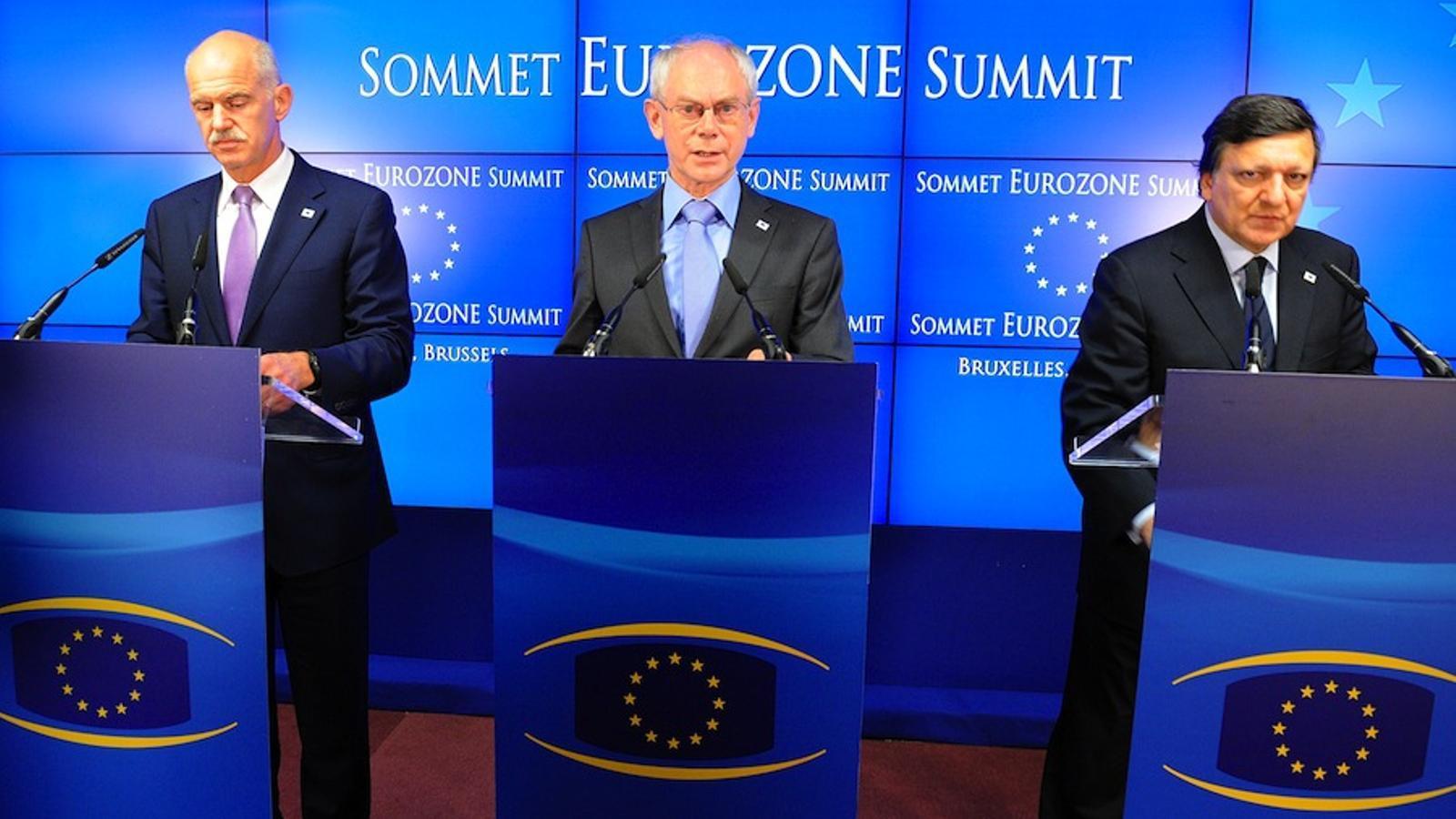 Papandreu, Van Rompuy i Barroso, aquest vespre a Brusel·les / AFP