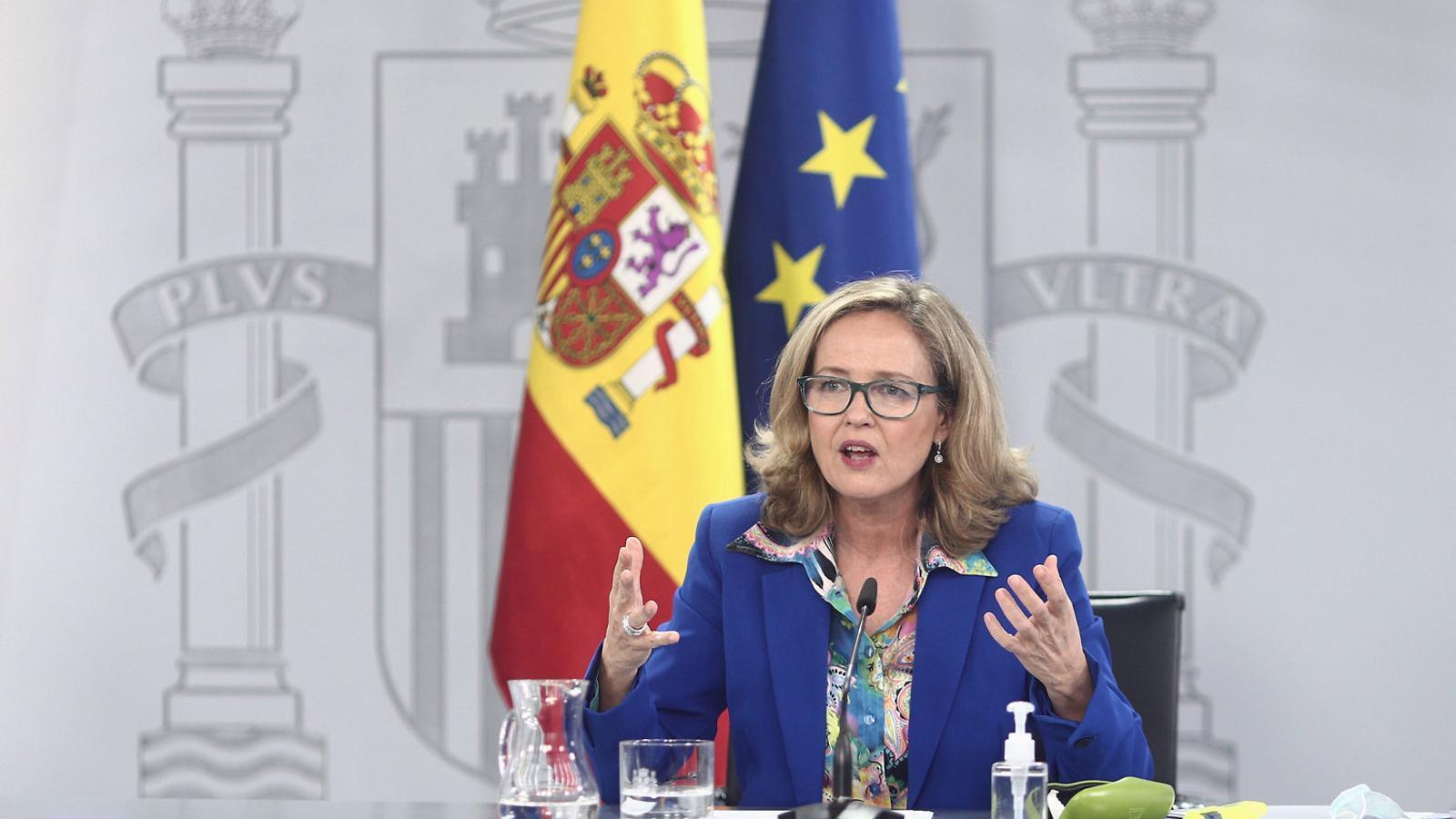 La ministra d'Economia, Nadia Calviño, ahir en la roda de premsa de després del consell de ministres.