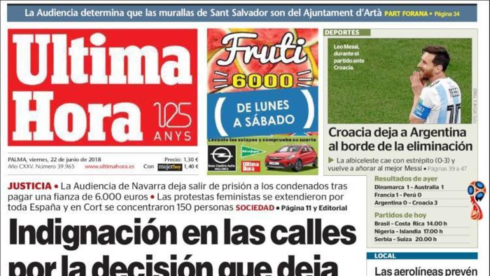 """""""El govern espanyol, dividit per la posada en llibertat de 'La Manada'"""", portada d''El Mundo'"""