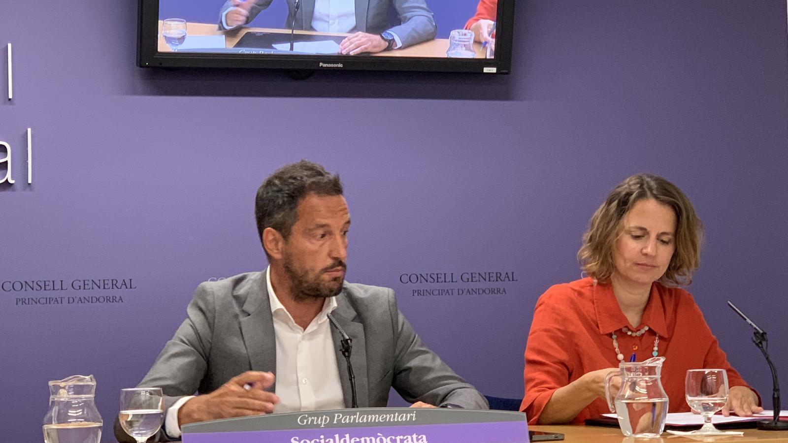 El president del grup parlamentari socialdemòcrata Pere López i la consellera Rosa Gili. / C. A.