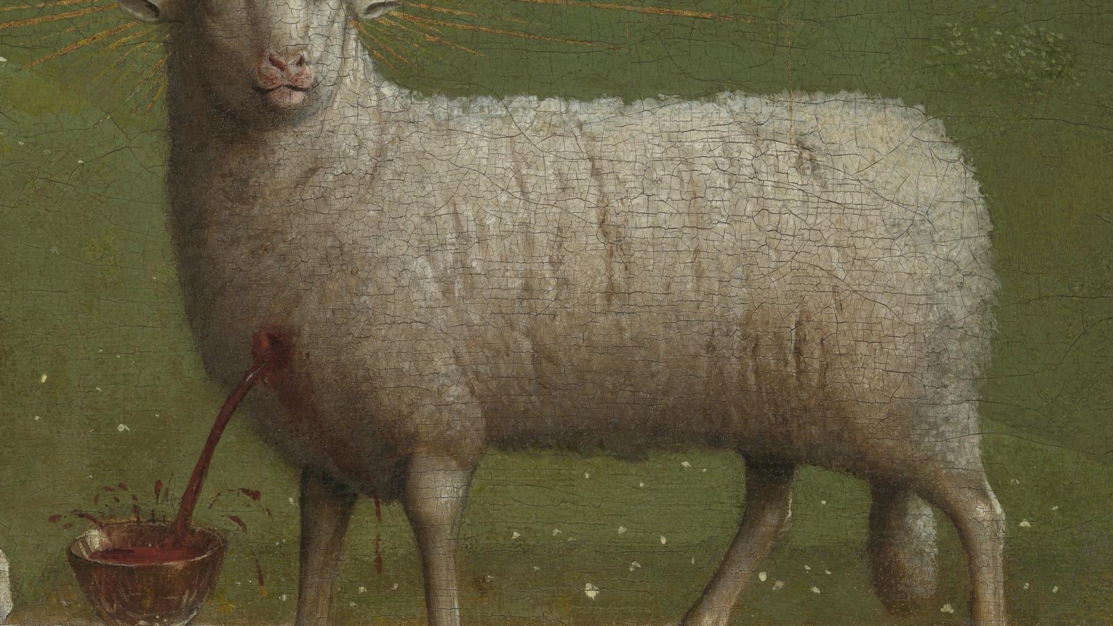 detall del retaule L'adoració de l'Anyell Místic, a la catedral de Sant Bavó, a Gant .