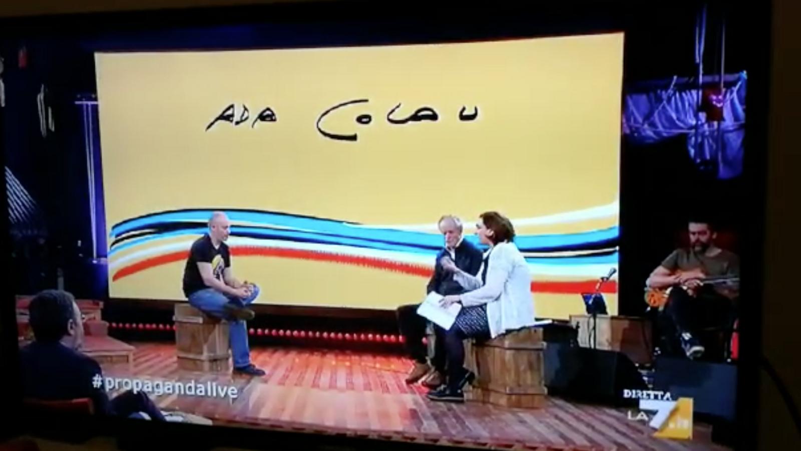 Ada Colau parlant dels presos polítics i la situació política a Catalunya en una televisió italiana