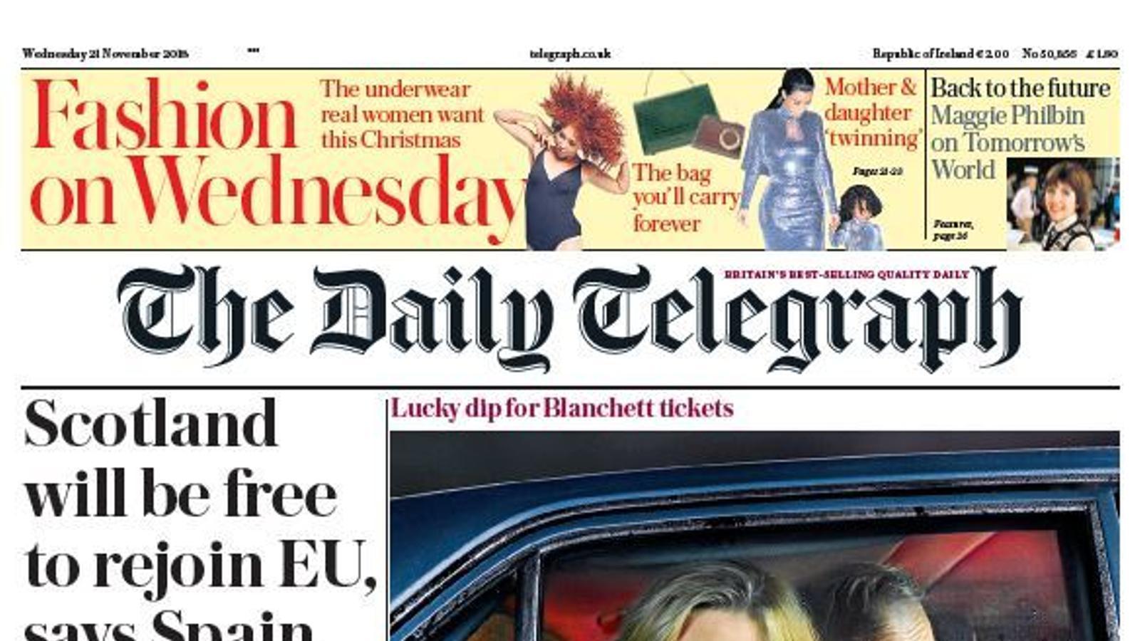 Portada de l'edició d'aquest dimecres del 'Daily Telegraph'