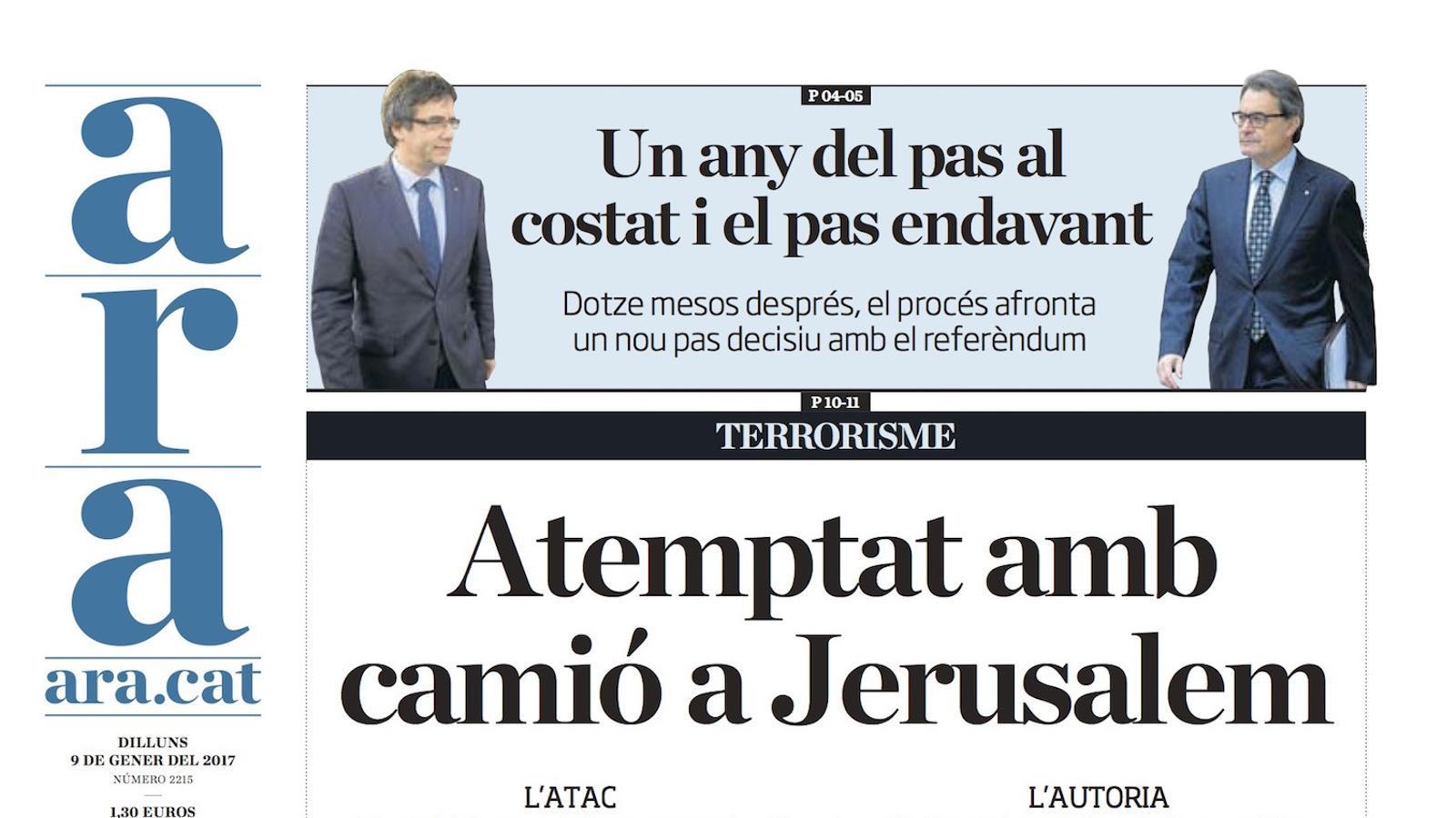 """""""Atemptat amb camió a Jerusalem"""", portada de l'ARA"""