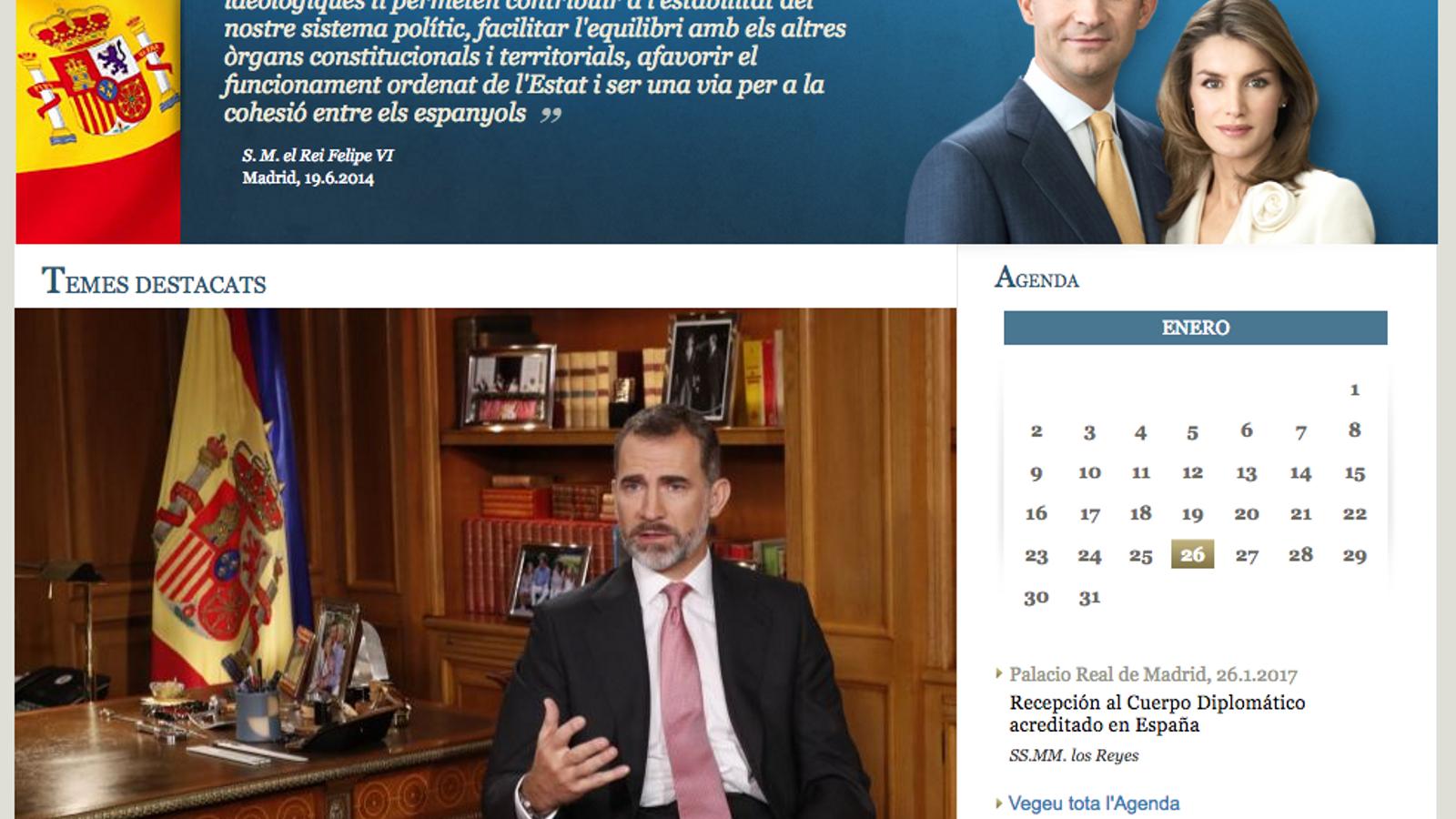 La versió en català de la pàgina de la Casa Reial, amb els últims continguts publicats en castellà