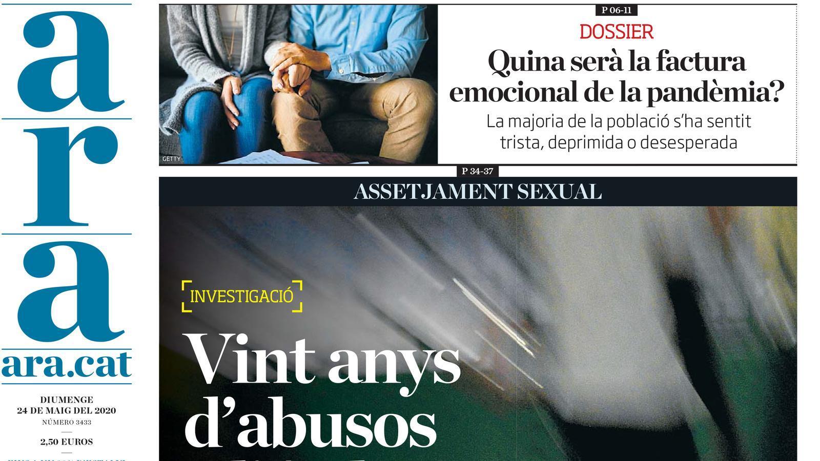 """""""Vint anys d'abusos a l'Aula de Teatre de Lleida"""", portada de l'ARA"""