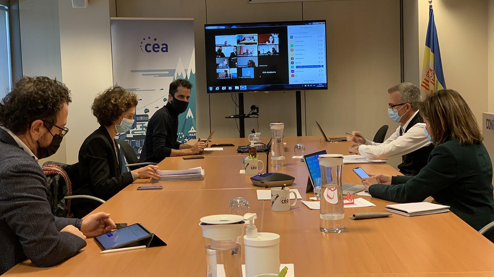 La reunió que ha tingut lloc aquest dijous a la CEA i de forma telemàtica. / CEA