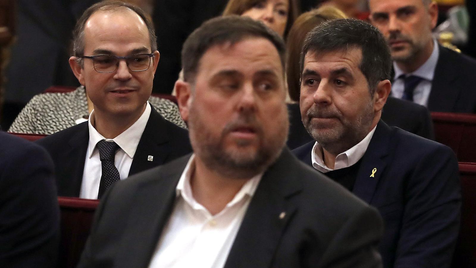 Turull, Junqueras i Sànchez al judici de l'1-O.