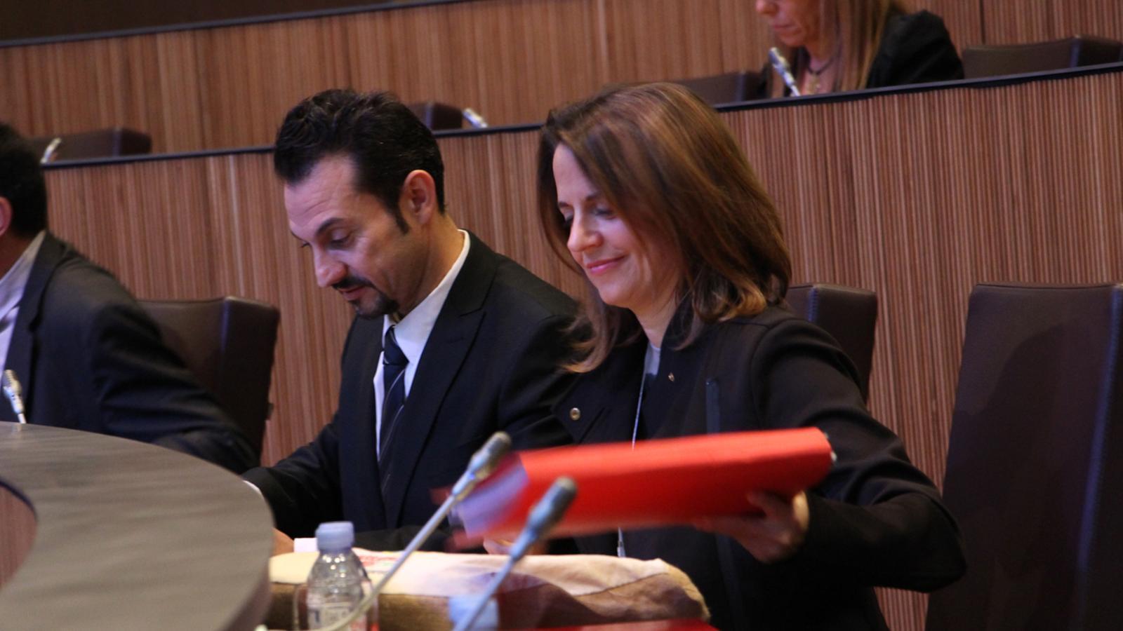 Els consellers generals del PS, Gerard Alís i Rosa Gili, durant la sessió ordinària del Consell General aquest dijous. / M. M. (ANA)