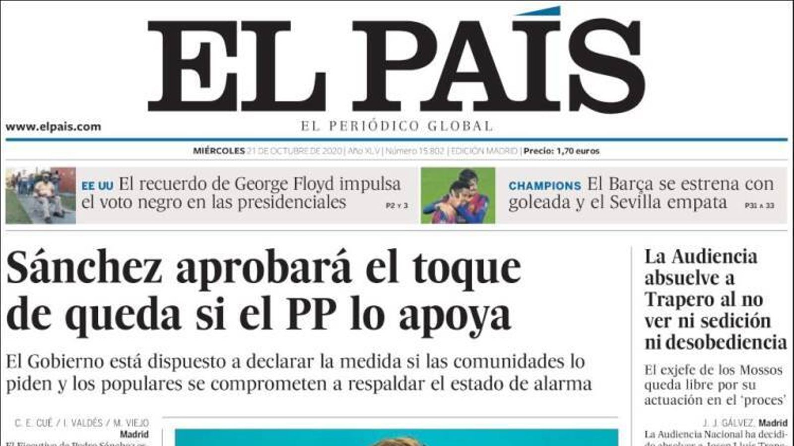 Portada 21 octubre 2020 El País