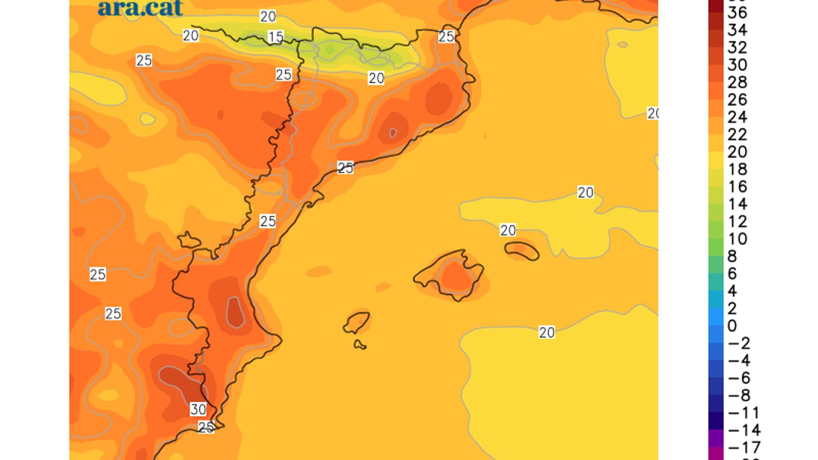 Temperatura màxima prevista per aquest dimarts