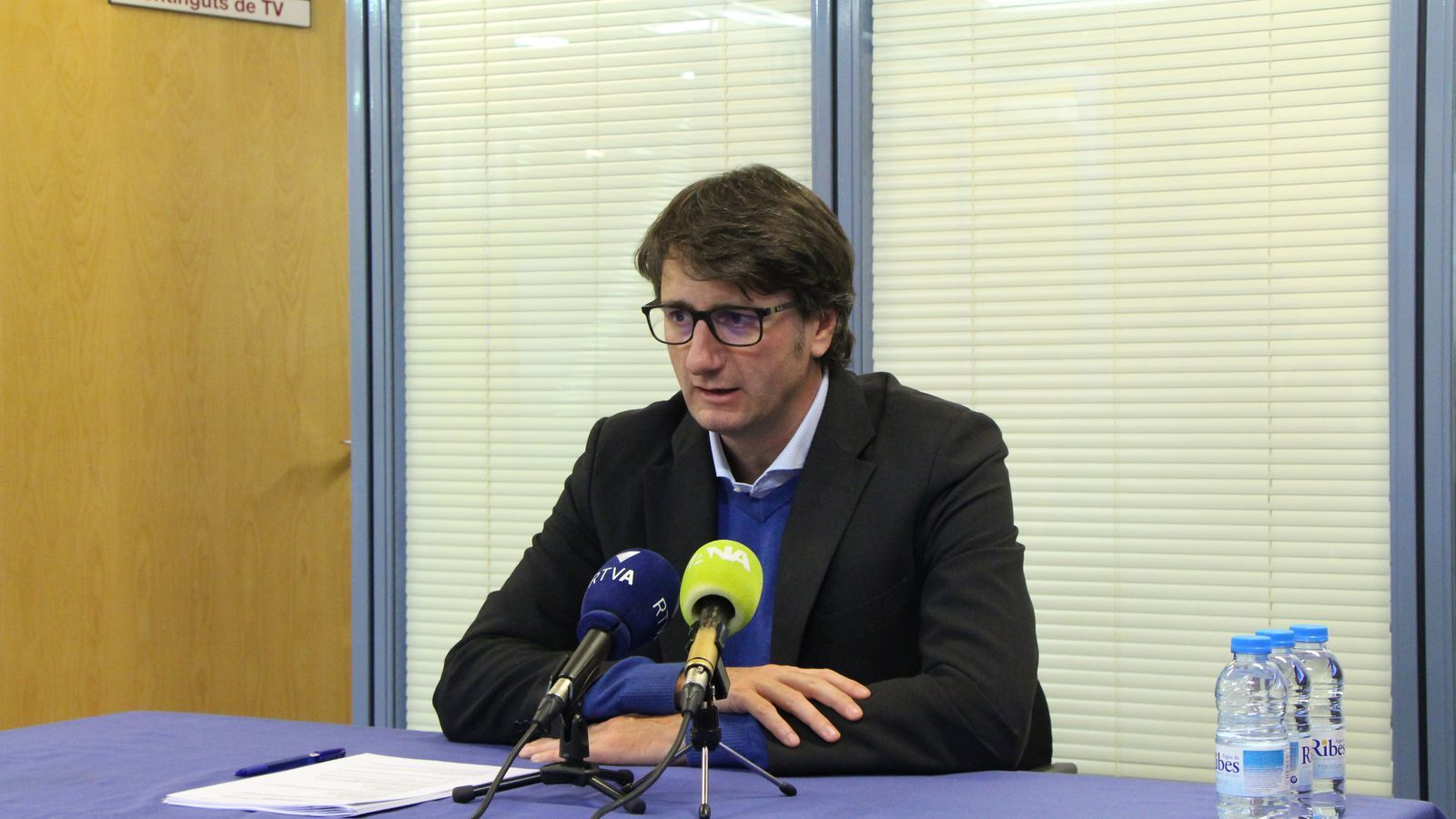 Xavier Mujal, director general d'RTVA, durant la roda de premsa sobre la cobertura de les eleccions comunals. / A.S. (ANA)