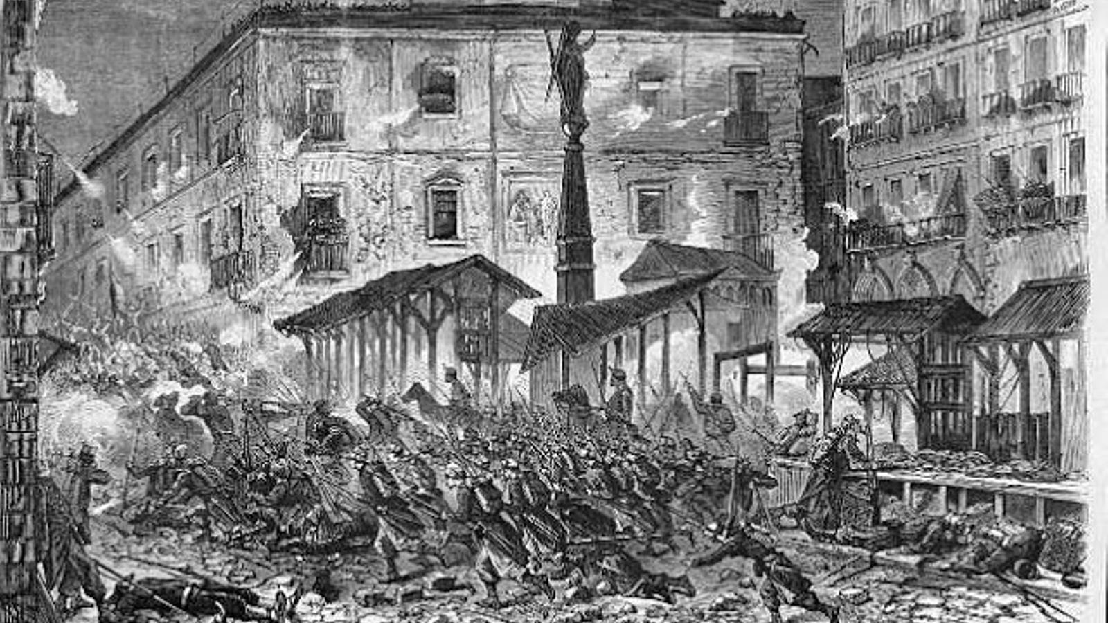 Una barricada a la plaça del Pedró el 25 d'octubre de 1869.