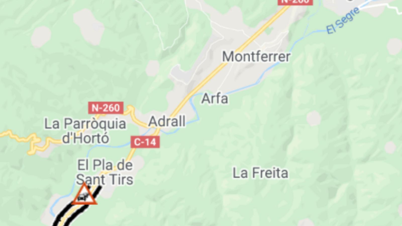 Un accident talla la carretera i provoca 2km de cua a la Ribera d'Urgellet