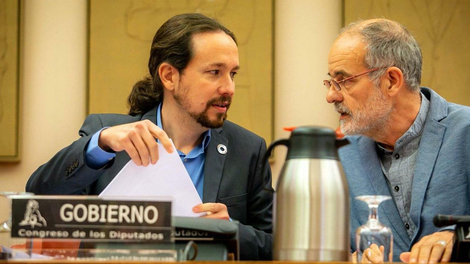 El vicepresident segon del Govern, Pablo Iglesias, durant la seva compareixença