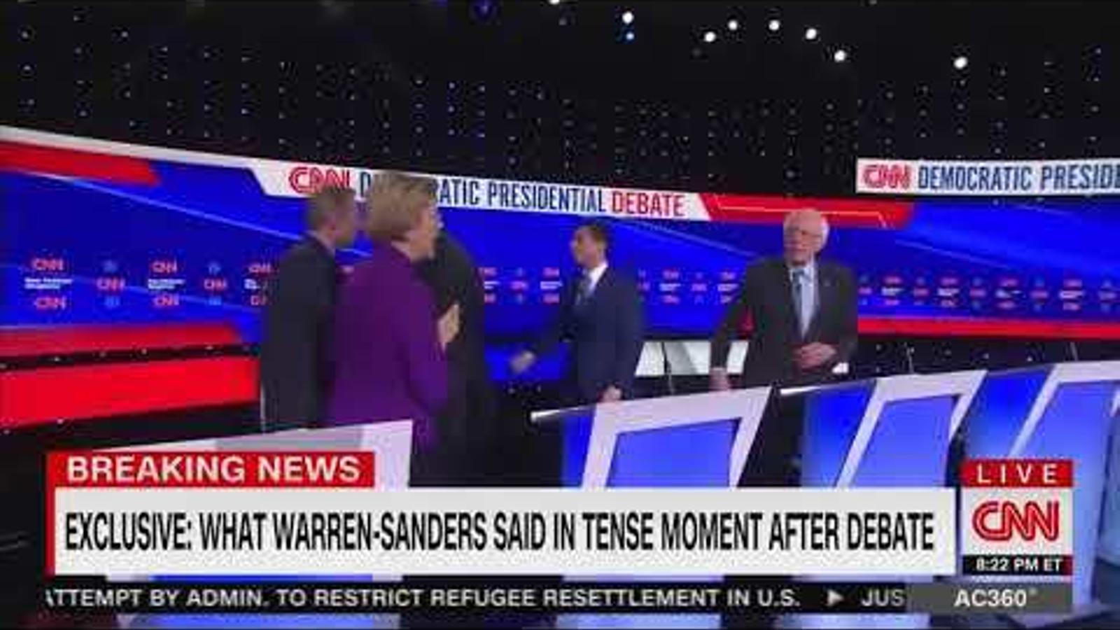 """CNN filtra l'intercanvi entre Elizabeth Warren i Bernie Sanders: """"M'has dit mentidera a la televisió nacional"""""""