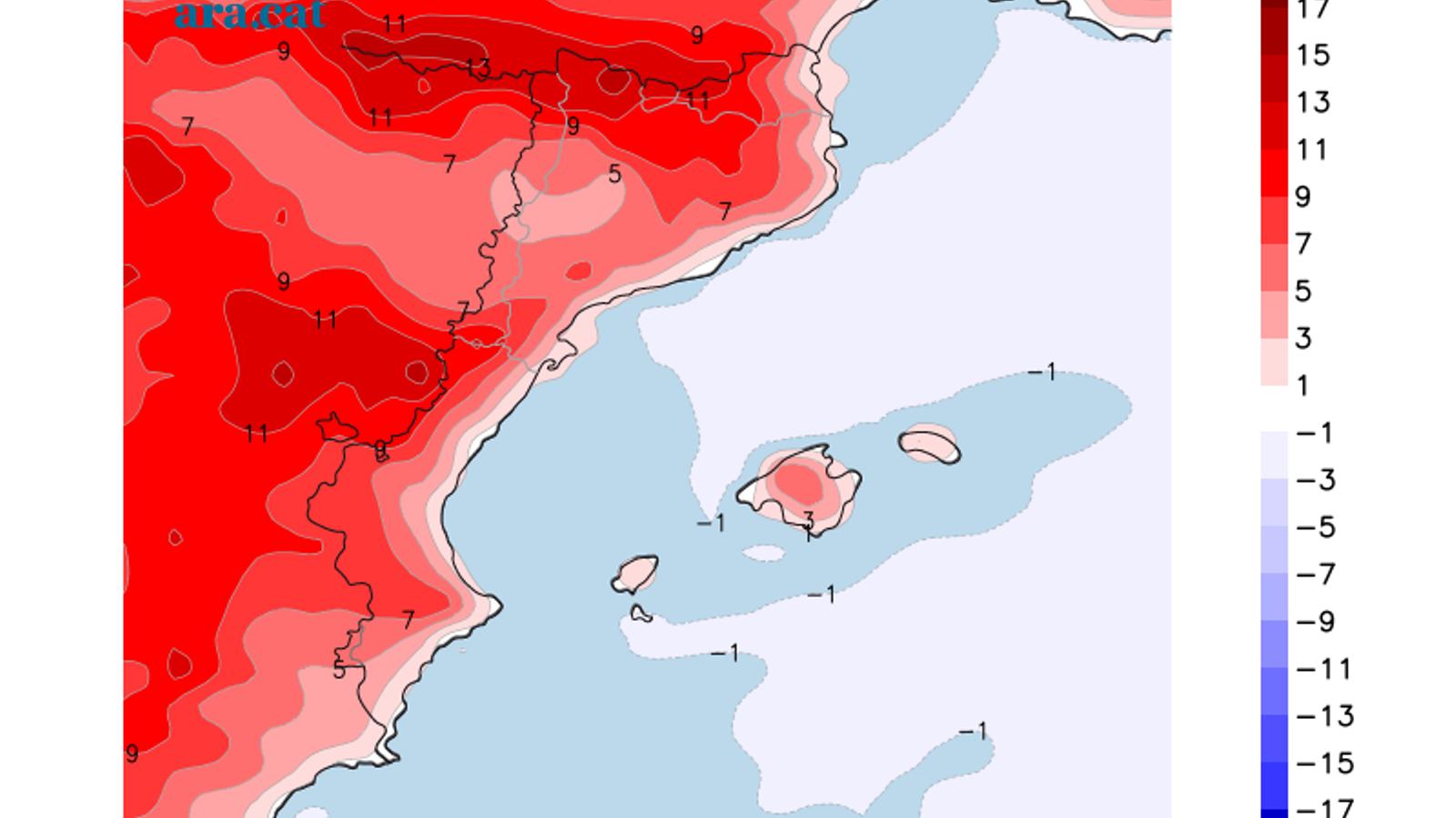 Diferència prevista entre la temperatura màxima d'avui la de divendres