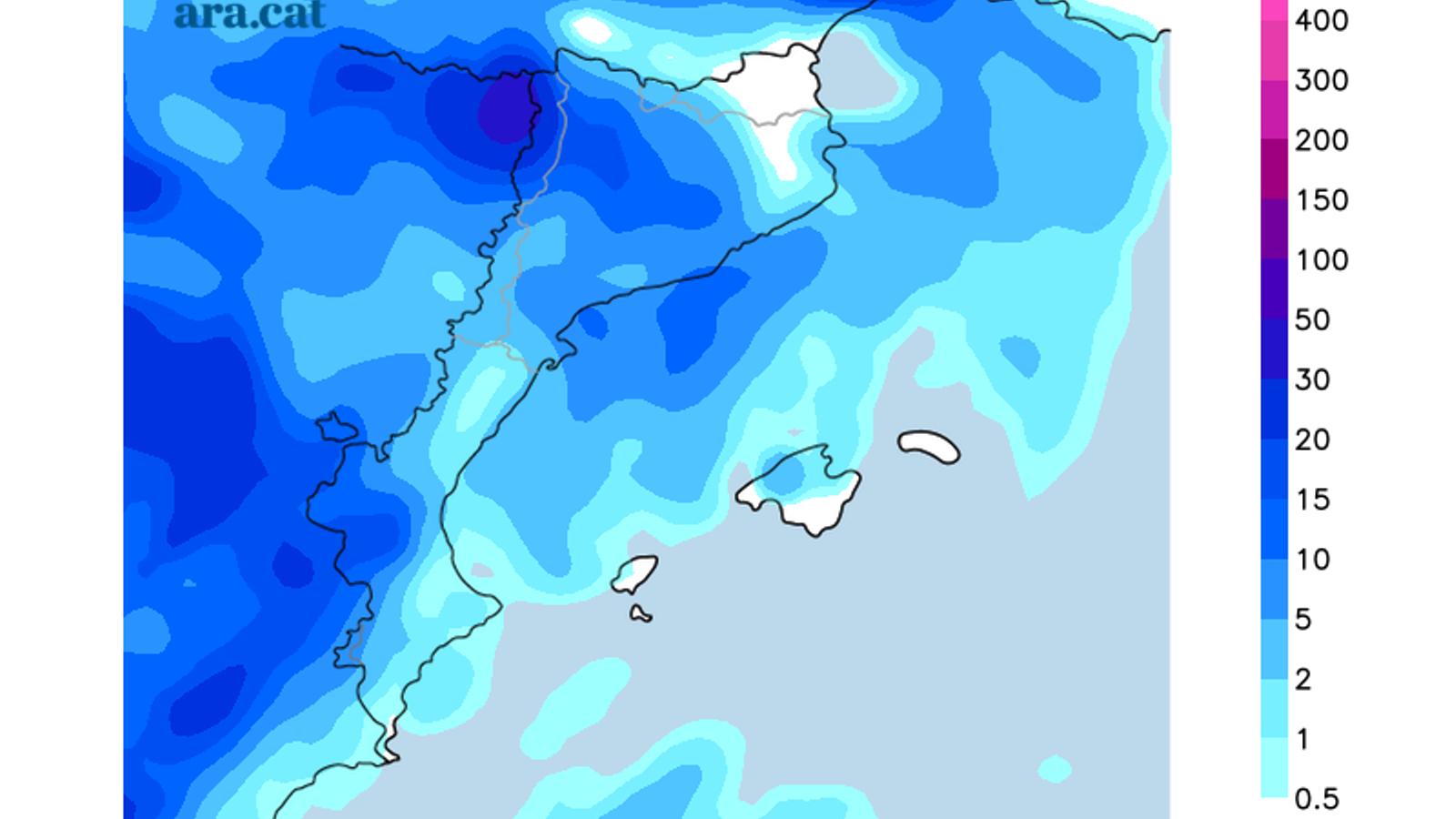 Acamulacions totals de precipitació previstes fins dissabte a la nit