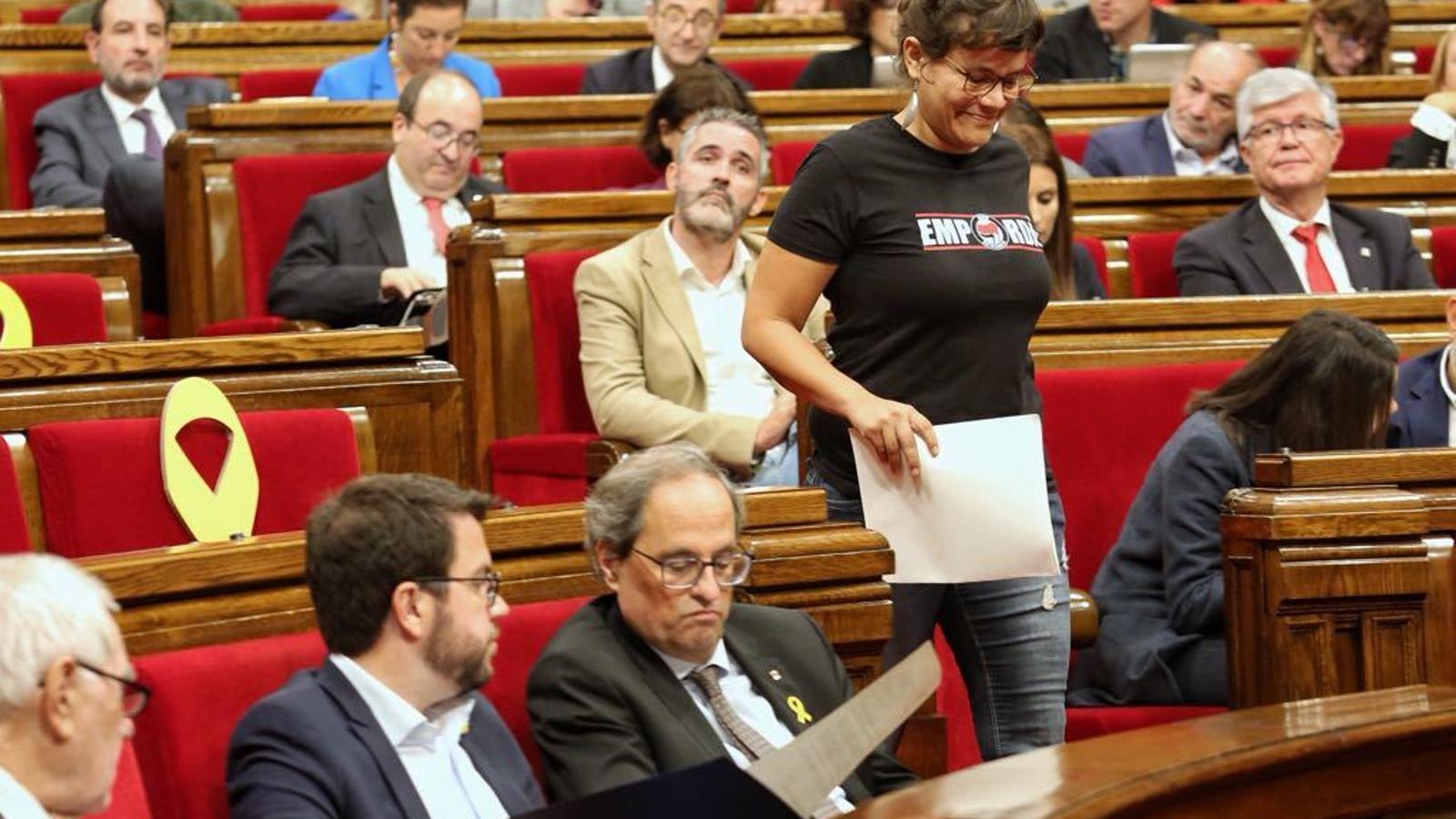 La diputada de la CUP Natàlia Sànchez, durant el debat de política general al Parlament