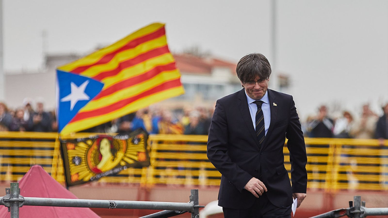 L'expresident Carles Puigdemont en l'acte del mes de febrer a Perpinyà.