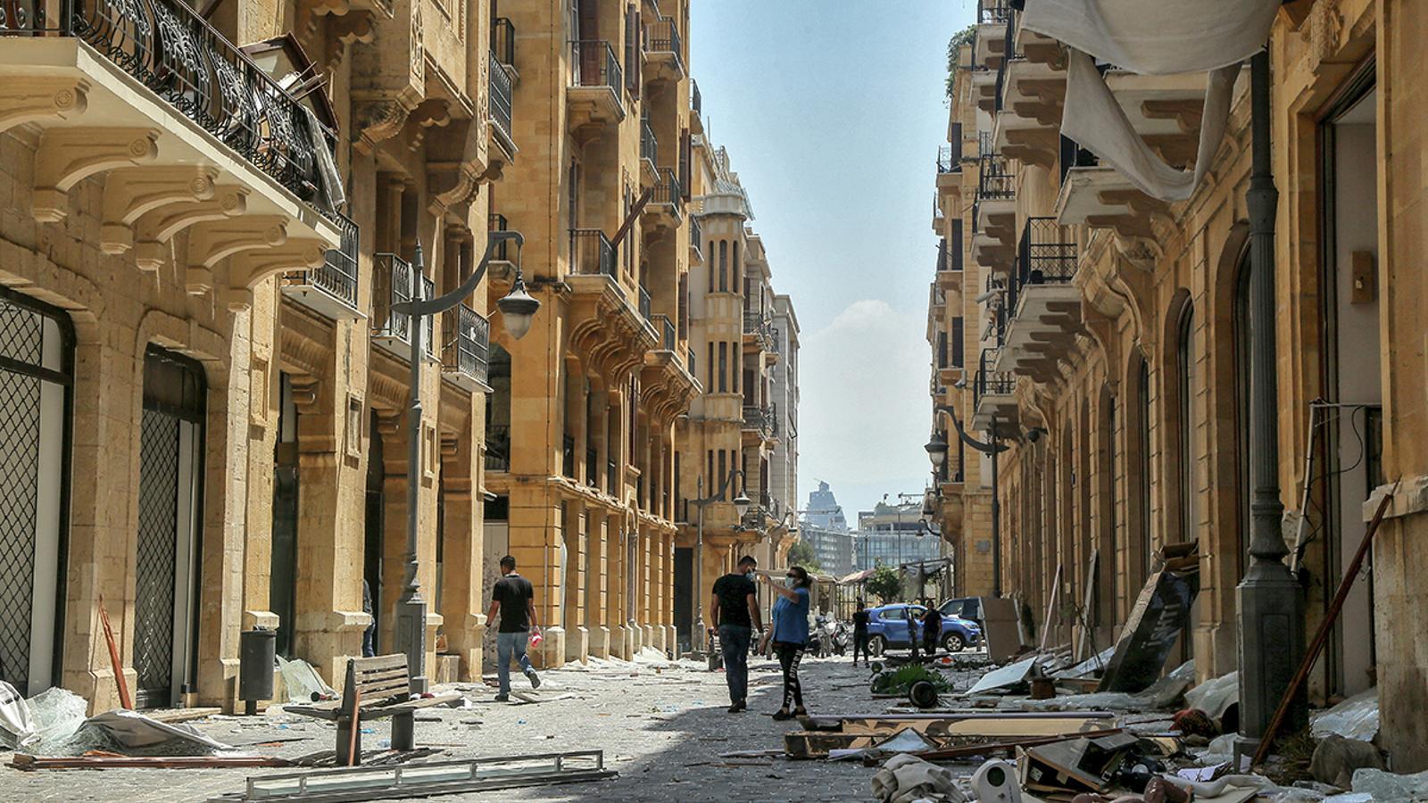 Un carrer destruït al centre de Beirut
