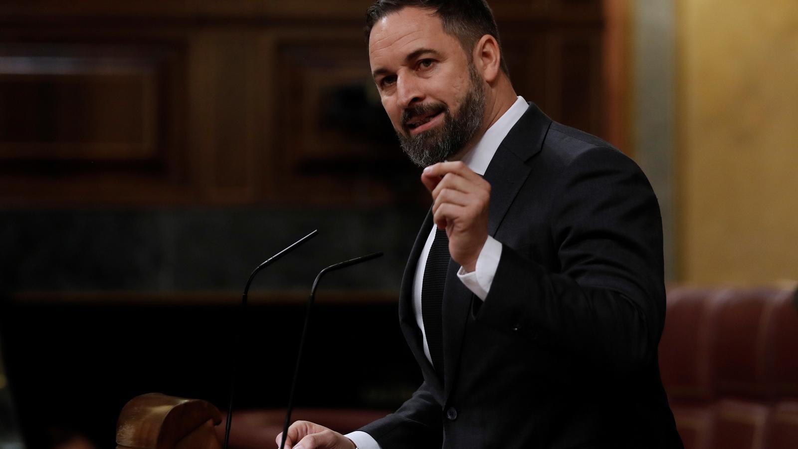 El líder de Vox, Santiago Abascal, durant el debat de pròrroga de l'estat d'alarma al Congrés.