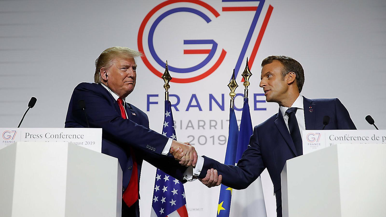 Trump i Macron a la roda de premsa conjunta que van fer ahir al final de la cimera del G-7, a Biarritz.
