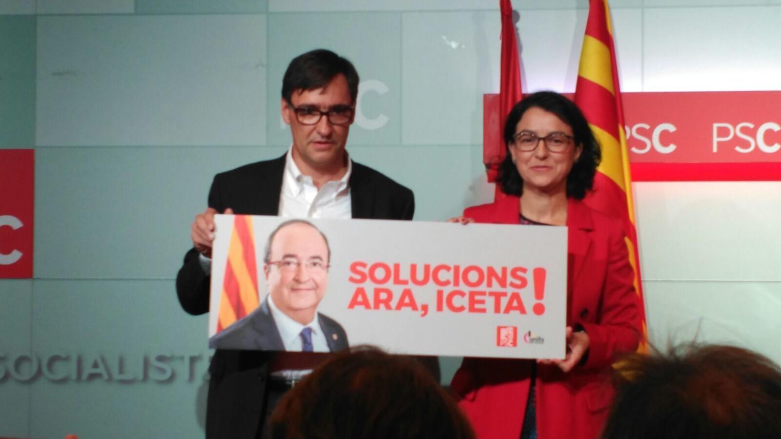 El director i la portaveu de la campanya del PSC pel 21-D, Salvador Illa i Eva Granados, aquest dilluns presentant l'eslògan de campanya del partit