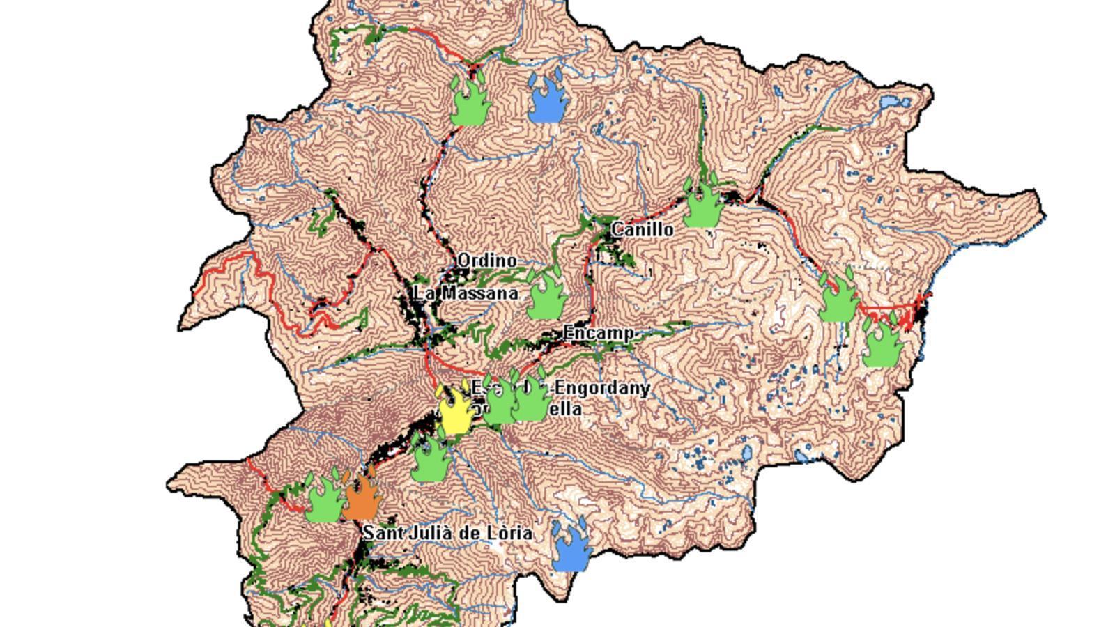 El mapa d'alerta de possibles incendis que ha difós Protecció Civil. / Protecció Civil
