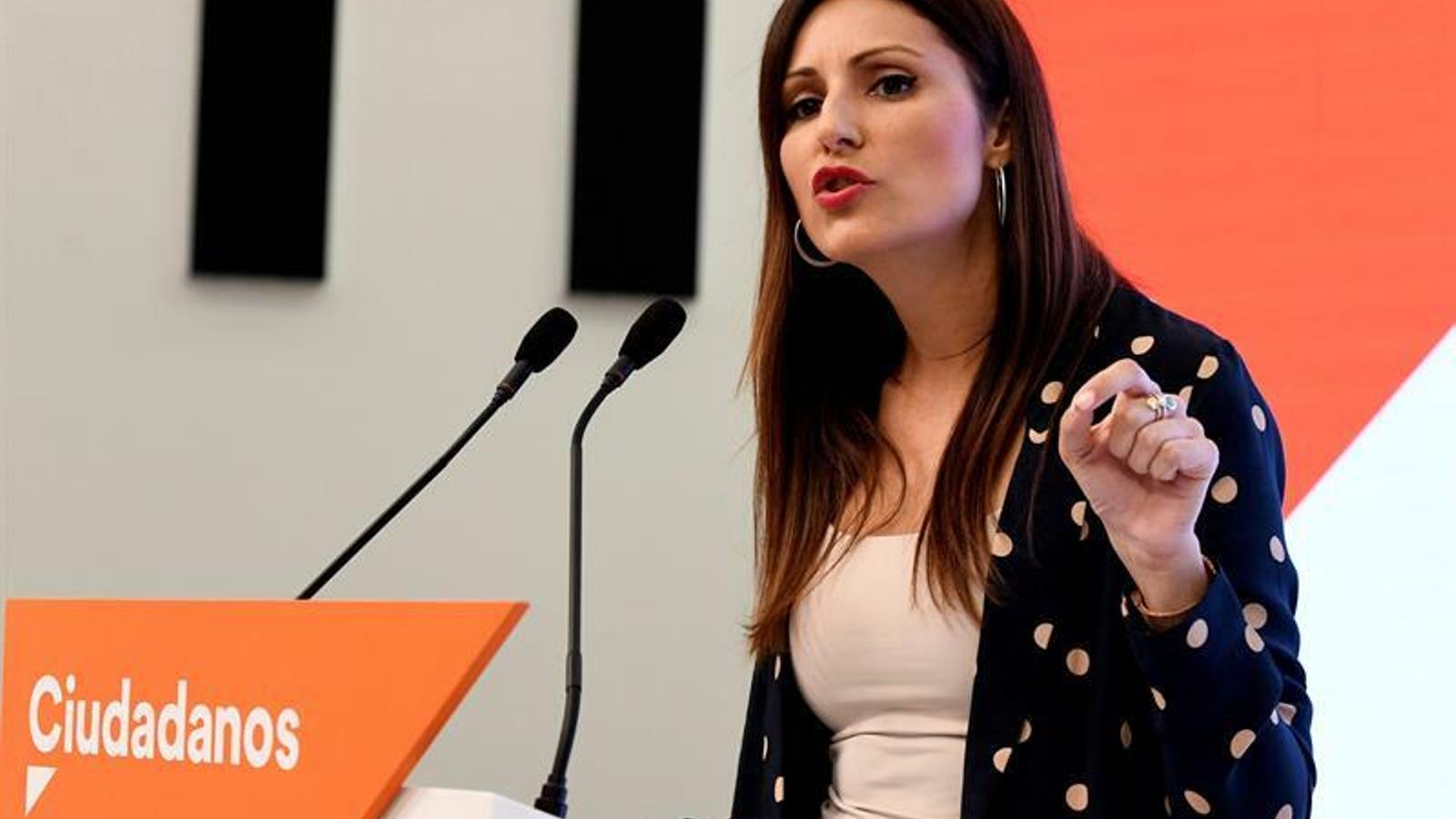 La portaveu de Cs, Lorena Roldán, en roda de premsa