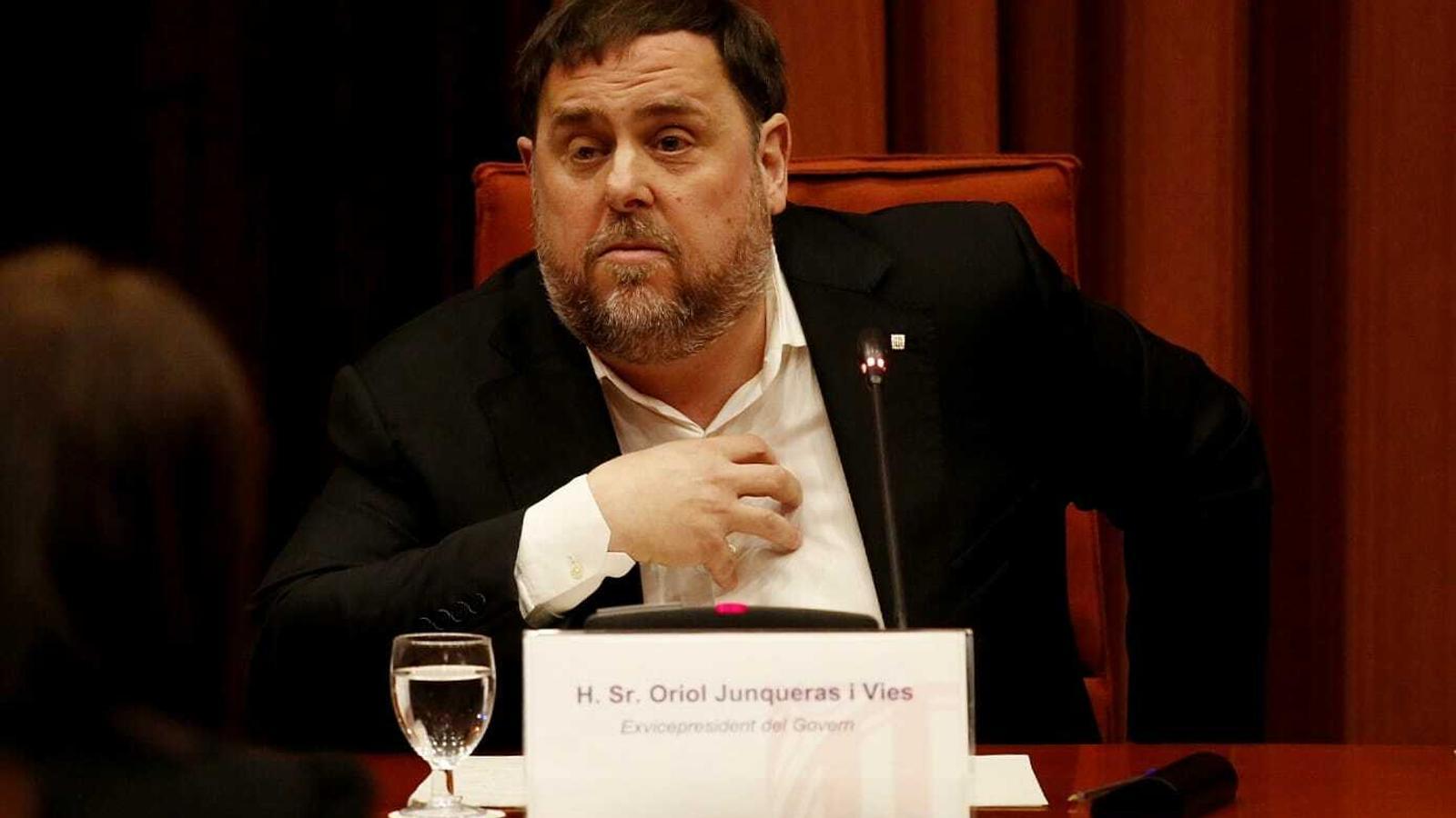 El president d'ERC, Oriol Junqueras, aquest dimarts al Parlament.