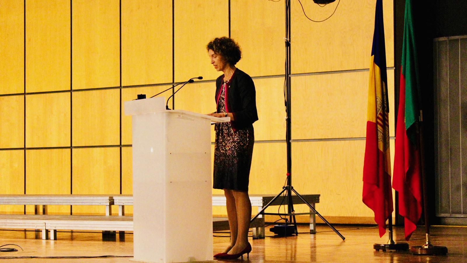 La ministra d'Afers Exteriors, Maria Ubach, durant l'acte de celebració dels 25 anys de relacions diplomàtiques entre Andorra i Portugal. / SFG