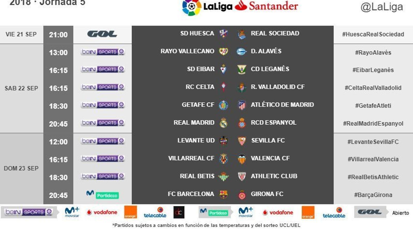 Els horaris de la jornada 5 de la Lliga