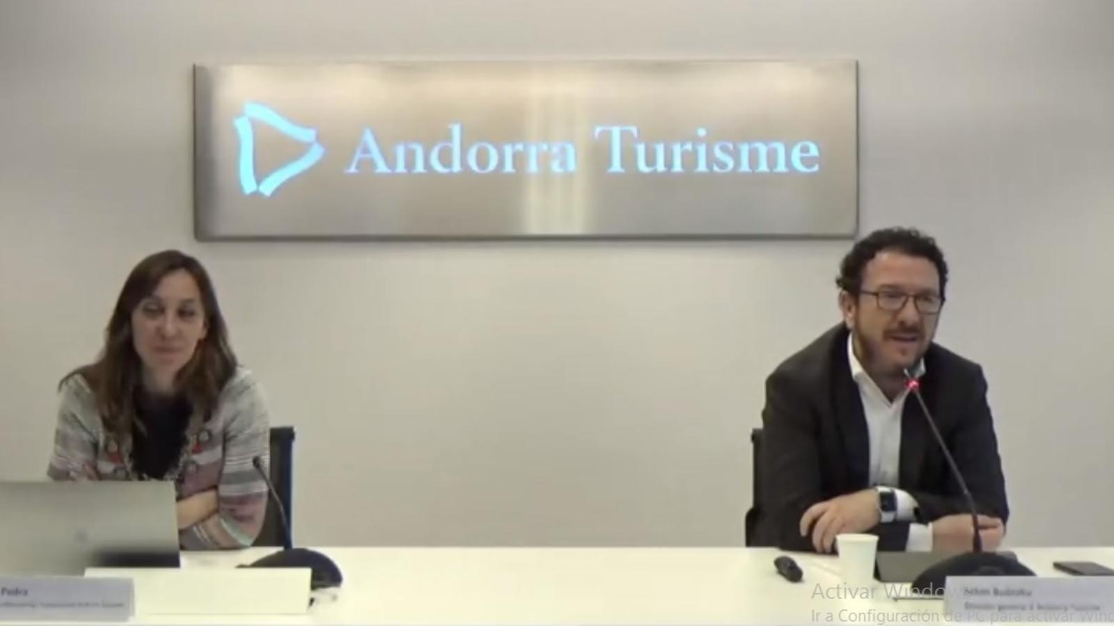 La roda de premsa telemàtica que ha ofert Andorra Turisme. / E.C. (ANA)
