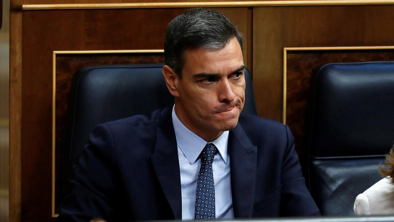 Pedro Sánchez ahir durant la segona sessió del debat d'investidura.