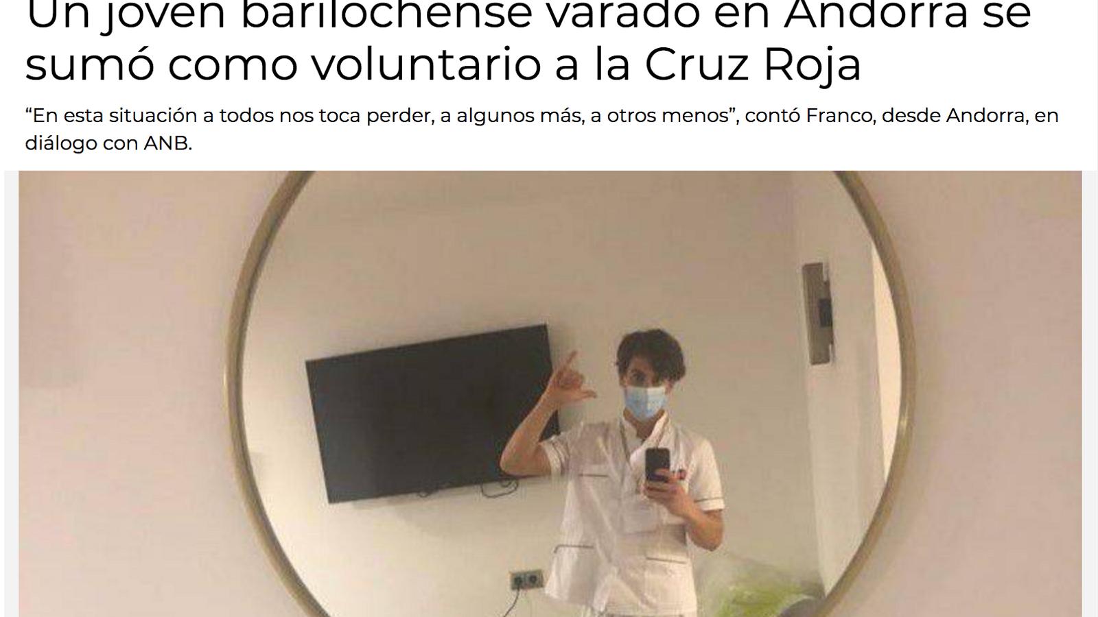 La notícia que es fa ressò del voluntariat del jove argentí. / ANB