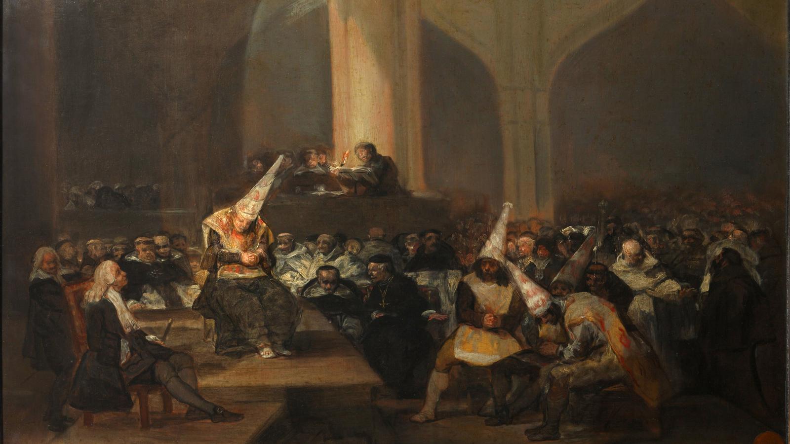 Acte de fe de la Inquisició, de Francisco de Goya, entre el 1812 i el 1819. Els imputats poden acabar condemnats a mort a la foguera. / REAL ACADEMIA DE BELLAS ARTES DE SAN FERNANDO