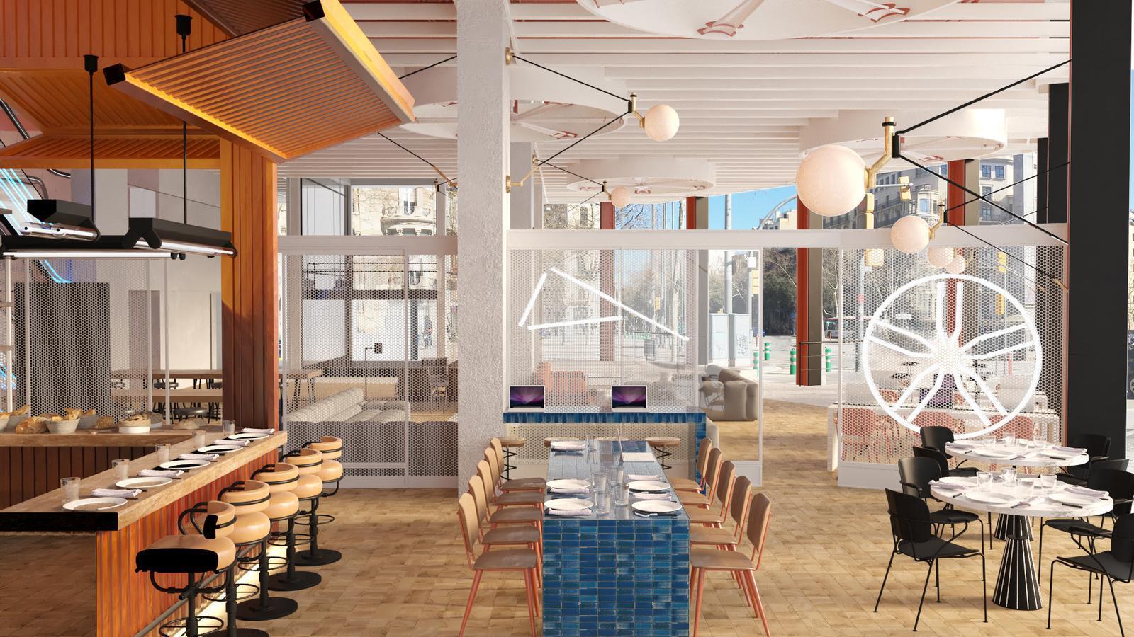 Imatge de com serà el cafè-restaurant de Casa Seat.