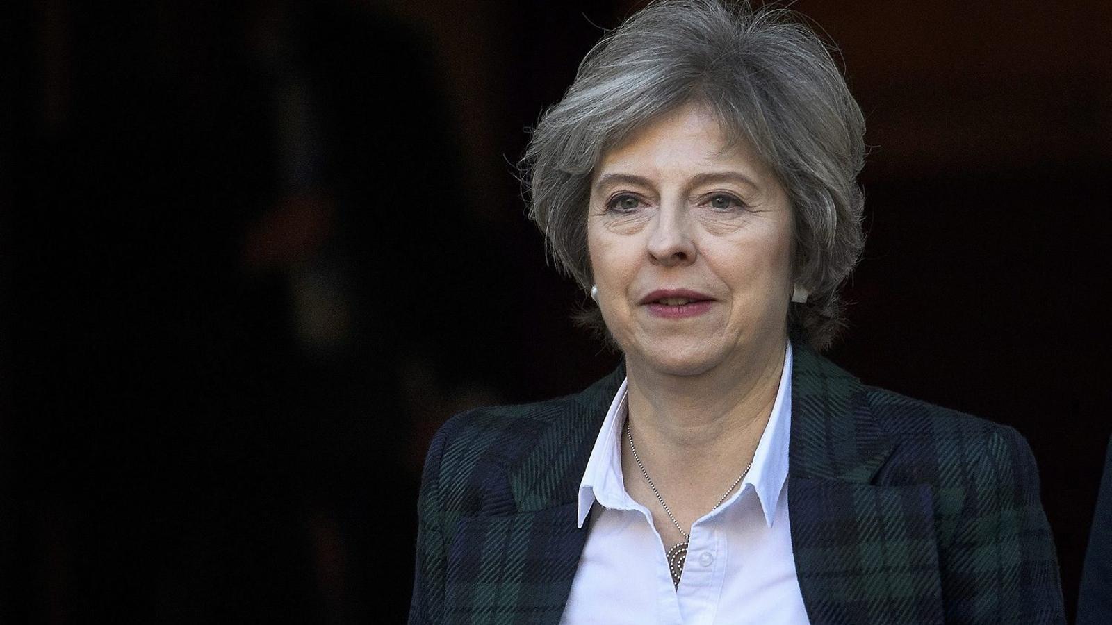 Theresa May després d'explicar el seu pla per al Brexit, ahir a Londres.