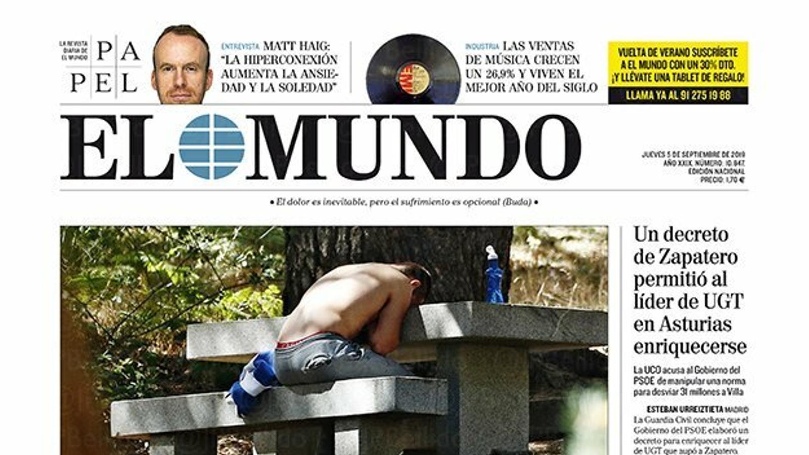 """""""La policia creu que la mort de Blanca no va ser accidental"""", portada d''El Mundo'"""