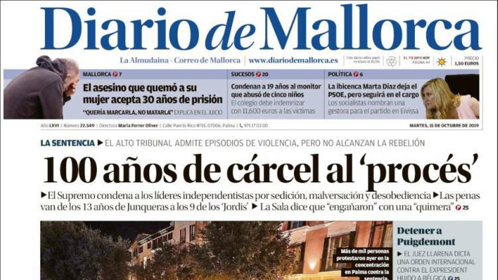 """""""99 anys de presó, 60 dies per a la llibertat"""", portada de 'Diario de Mallorca'"""
