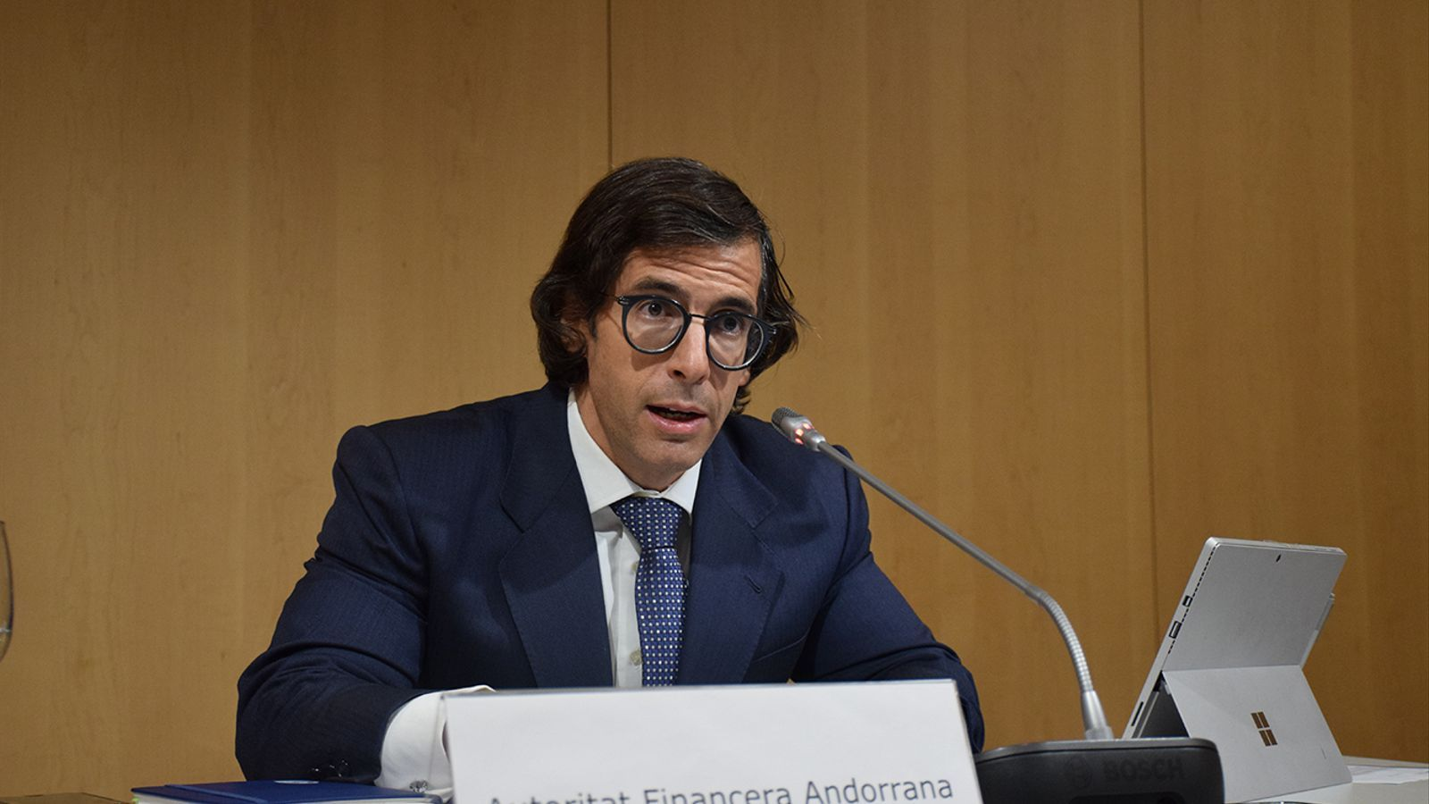 El director general de l'Autoritat Financera Andorrana (AFA), Ramón López, durant la roda de premsa que ha convocat aquest dimecres. / M. F. (ANA)