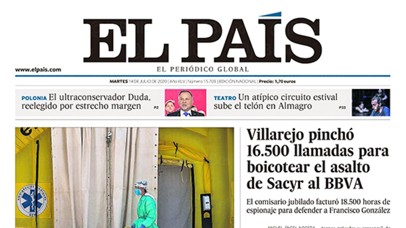"""""""El buit legal després de l'alarma frena la lluita contra el brot a Lleida"""", portada d''El País'"""