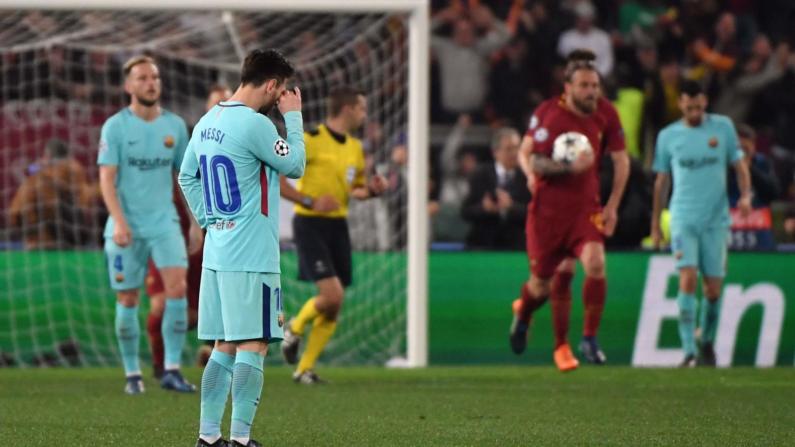 Messi decebut després del segon gol del Roma