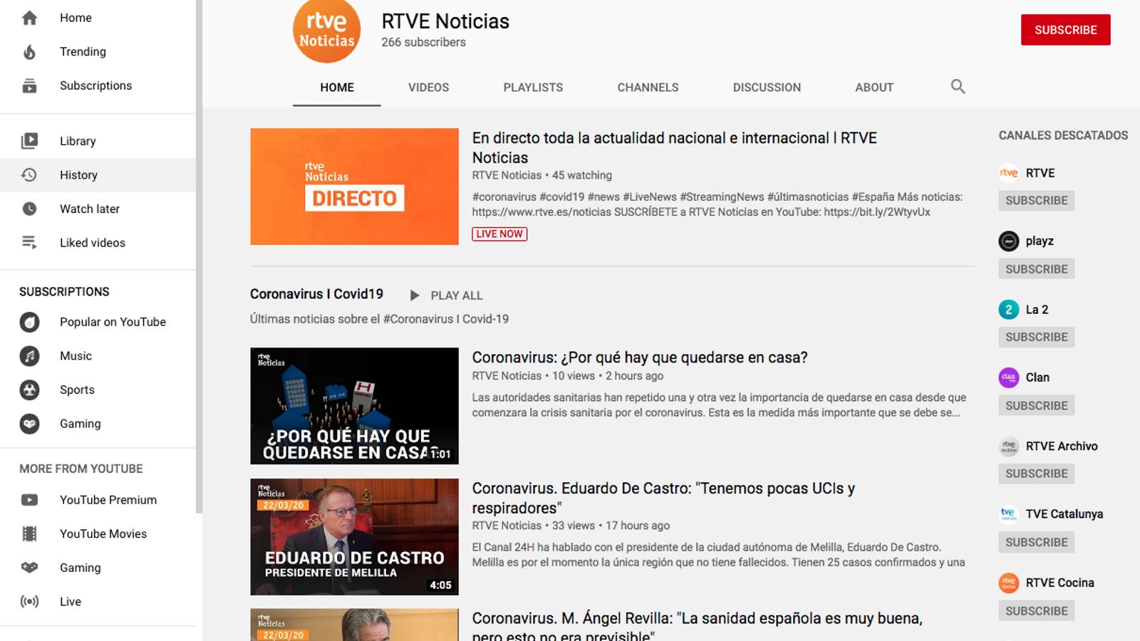 RTVE Noticias és el nou canal informatiu a Youtube de la televisió pública espanyola