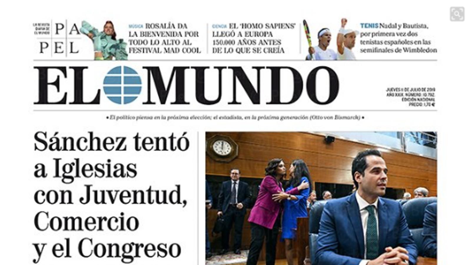 """""""Sánchez va temptar Iglesias amb Joventut, Comerç i el Congrés"""", a la portada d'El Mundo'"""
