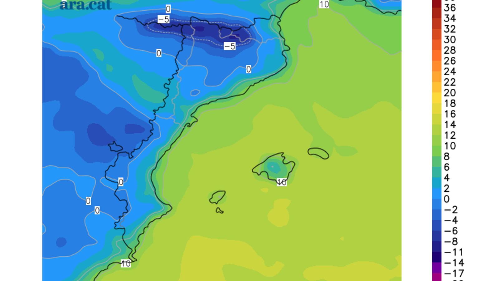 Temperatura mínima prevista per aquest dijous