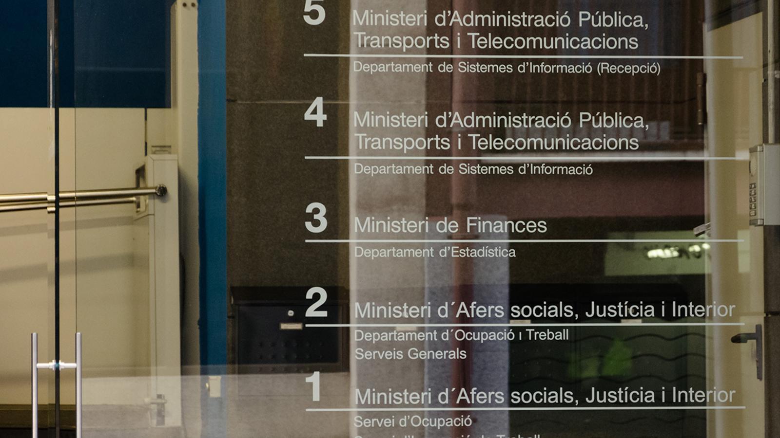 Entrada a l'edifici que acull el departament d'Estadística del Govern. / ARXIU ANA